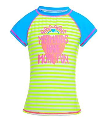 74598fb91d Boys Girls Short Sleeve Rash Guard Shirt Flower Printed UPF 50+ Swimsuit  Swimwear Blue S: Amazon.in: Clothing & Accessories