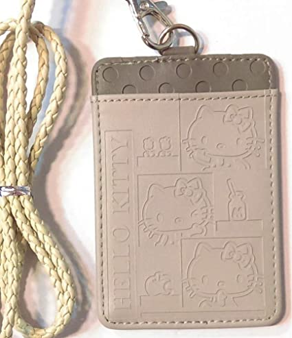 2fbd9ac4e Amazon.com : Hello Kitty Embossed Faux Leather 2-Slots ID Card Badge Holder  Pass Case Lanyard : Office Products