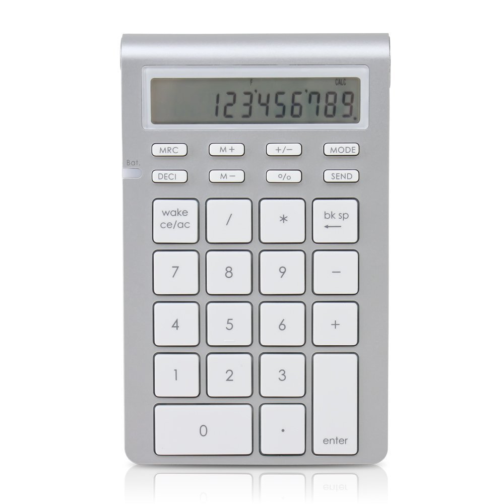 Satechi Portable Aluminum Bluetooth Wireless 26-Key Keypad and Calculator Keyboard Extension for Data Entry in Excel and Numbers for OSX and Windows ST-WKP31