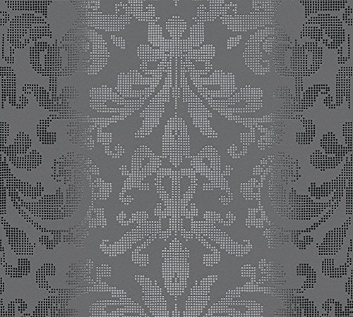 Wallpaper Baroque - A.S. Création Non-Woven Wallpaper Reflection 10.05 m x 0.53 m Gray Metallic Black Made in Germany 319951 31995-1