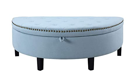 Superb Iconic Home Jacqueline Tufted Blue Soft Brushed Linen Half Moon Storage Ottoman With Gold Nail Head Trim Beatyapartments Chair Design Images Beatyapartmentscom