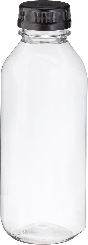 Clear Food Grade Plastic Juice Bottles 16 Oz (Pint) with Cap (6)