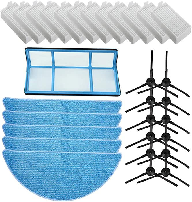 Replacement ILIFE Accessories Filter Hepa Filter Net Side Brush Mop for ILIFE V3 V3s V5 V5s V5s pro Robot Vacuum Cleaner ILIFE v3s Parts ILIFE v5s pro Replacement Parts (Accessories Kit)