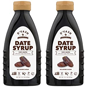 D'vash Date Syrup 2 Pack, Superfood Sugar Substitute Made 100% from Dates, Vegan, Gluten Free Liquid Sweetener, No Added Sugar, Paleo, Non-GMO, Kosher, 14.1 oz Squeeze Bottles
