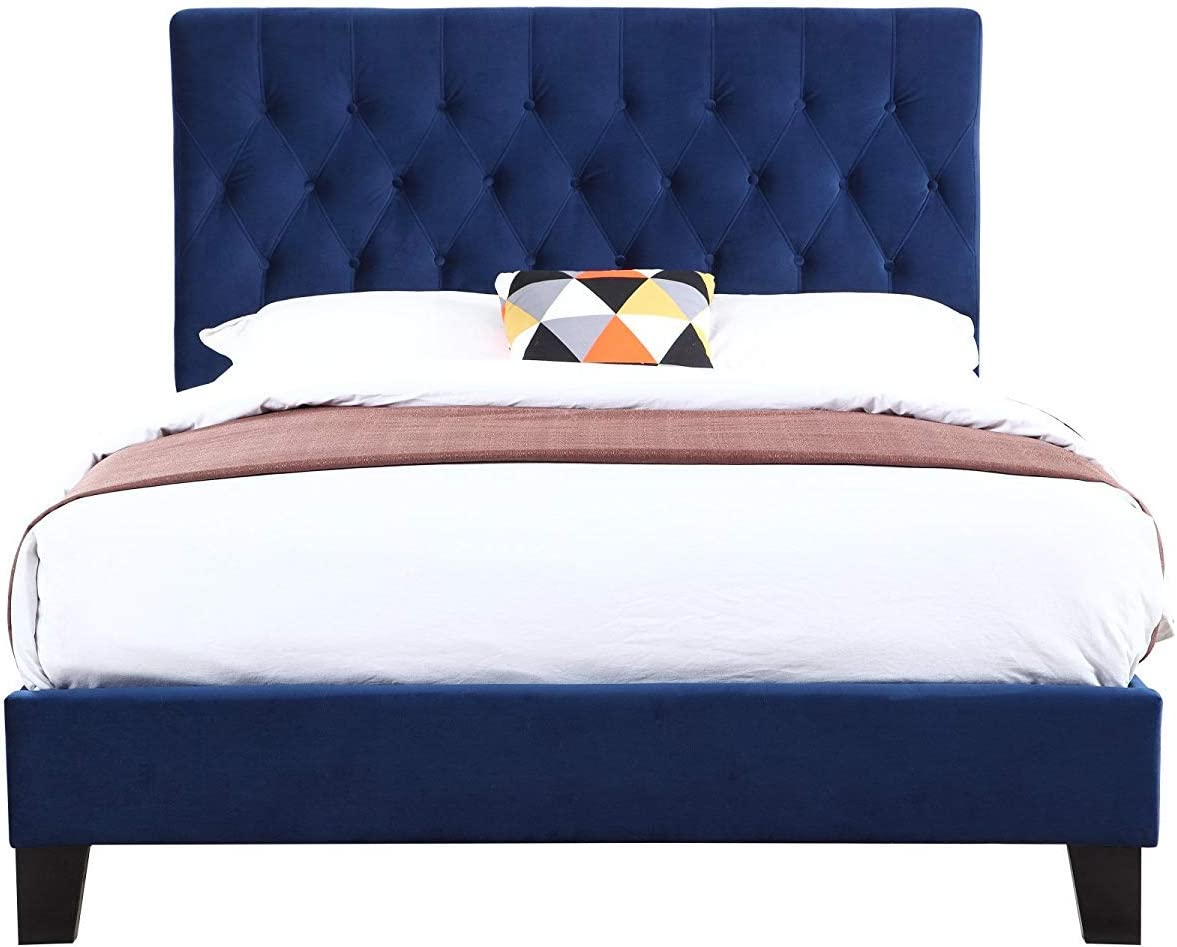 Emerald Home Furnishings Amelia Navy Tufted Twin Panel Bed