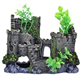 pranovo Castle Mountain View Rockery Landscpe Decor Rock Hiding Cave Tree Artificial Aquarium Ornament Fish Tank Decoration