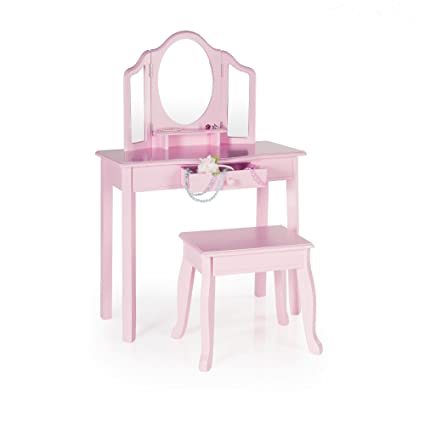 Amazon.com: Guidecraft Vanity and Stool – Pink: Kids\' Wooden Table ...