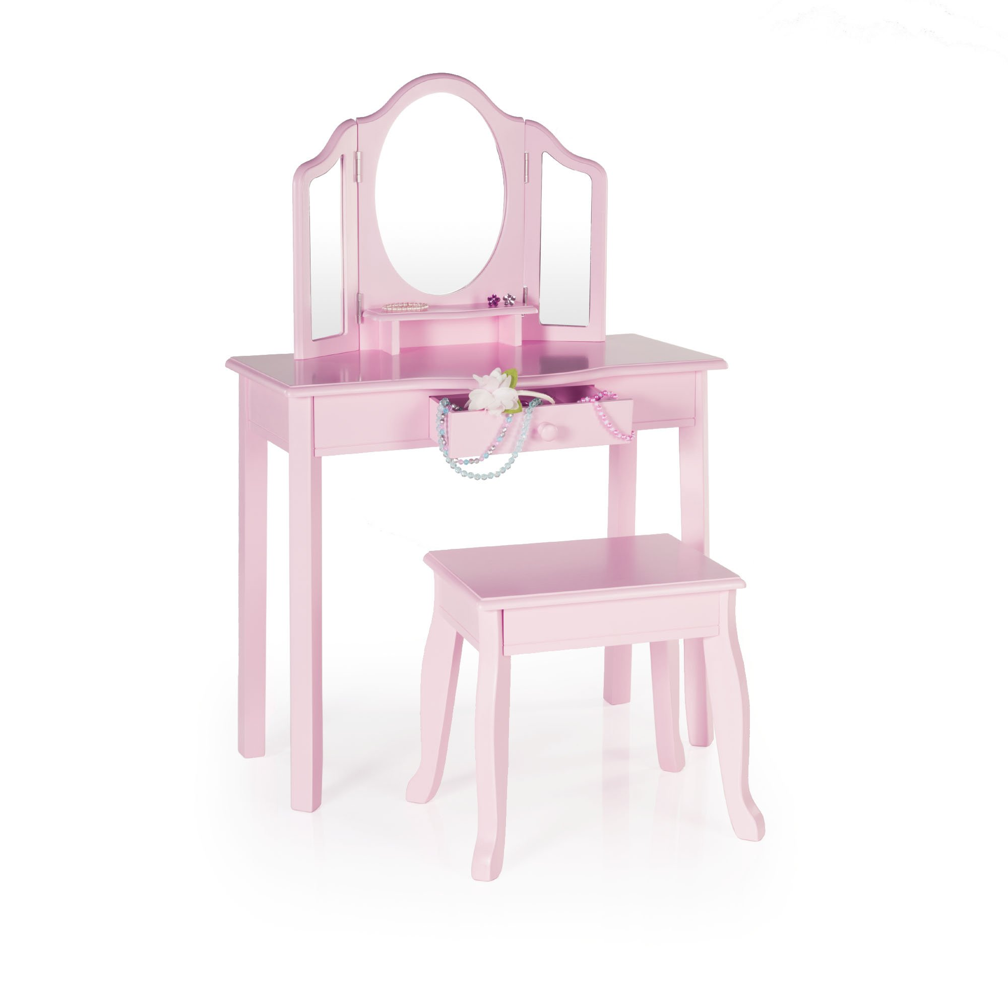Guidecraft Girls Wood Vanity Table and Stool Set with 3 Mirrors and Make-Up Storage Drawer Pink - Kids Furniture