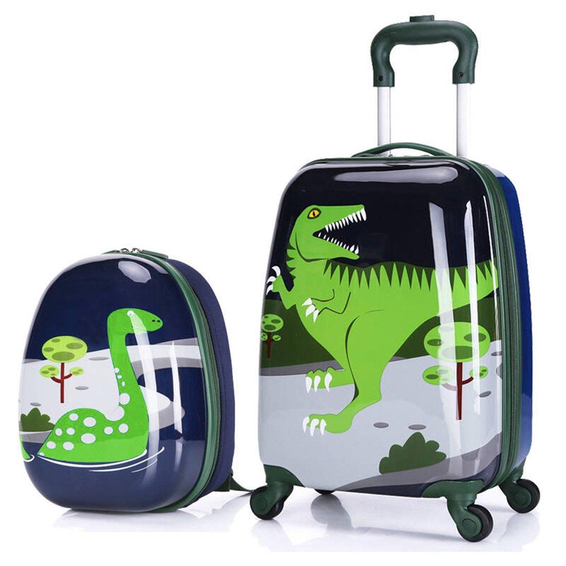MOREFUN 2 Pcs Kids Travel Luggage Set 18'' Carry on Luggage and 13'' Backpack (dinosaur)