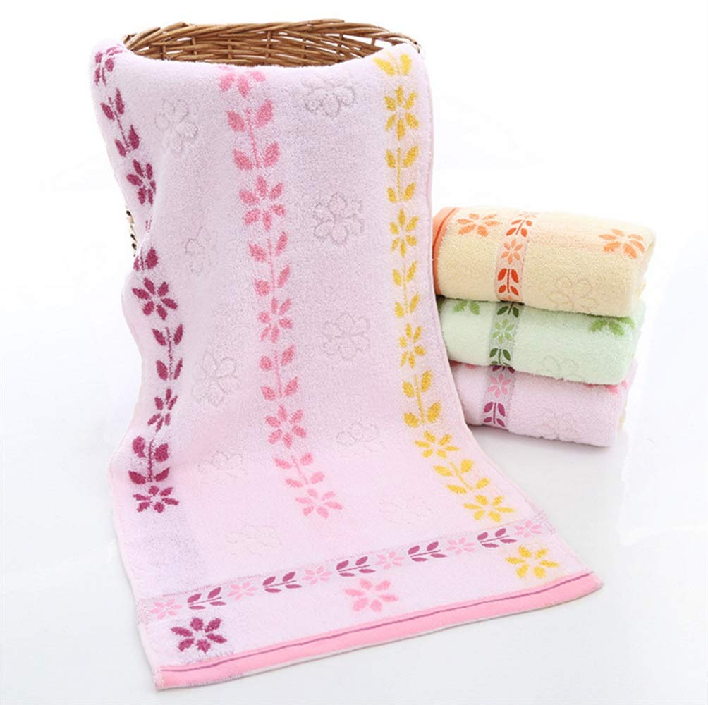 OHlive Comfortable 1PC Flower Cotton Hand Towel Bathroom Kitchen Thick Absorbent Towel (Color : Green)