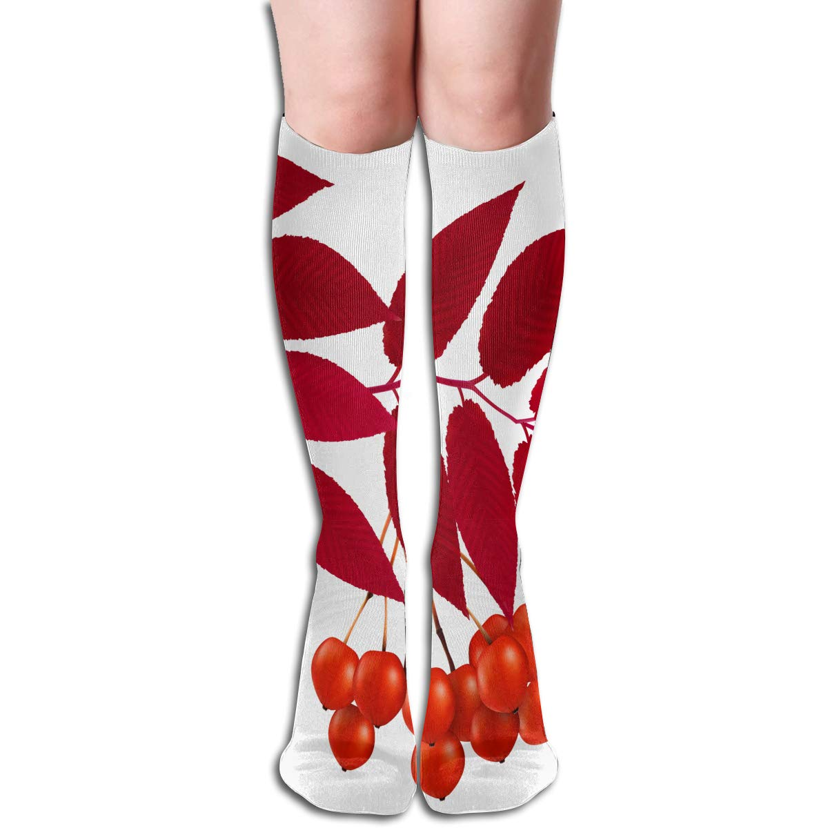 Women Socks Over Knee Red Lips Winter Unique For Halloween