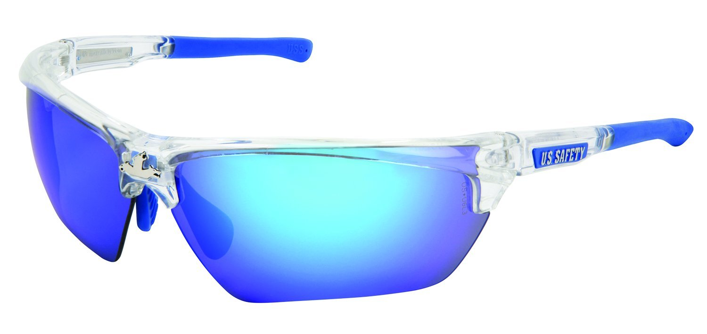 MCR Safety DM1328BZ Blue Diamond Polarized Dominator DM3 Safety Glasses with Clear Frame by MCR Safety