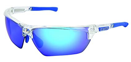 36418ef0e5a8 Image Unavailable. Image not available for. Color: MCR Safety DM1328B  Dominator DM3 Safety Glasses with Blue Diamond Mirror and Clear Frame