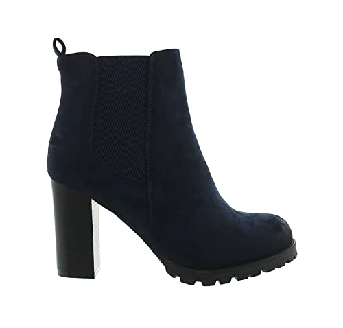 King Of Shoes Damen Stiefeletten mit Blockabsatz Ankle Boots Plateau