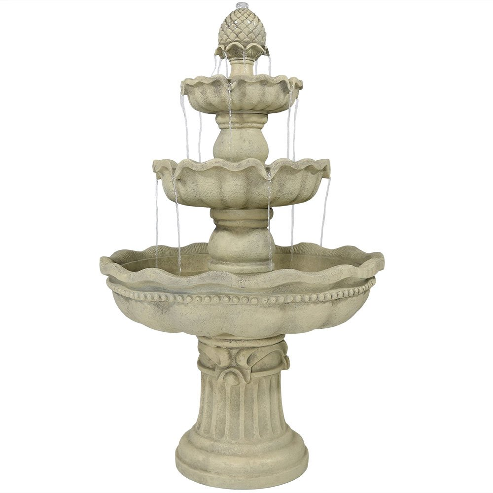 Sunnydaze 3-Tier Pineapple Outdoor Garden Fountain, White, 51 Inch Tall