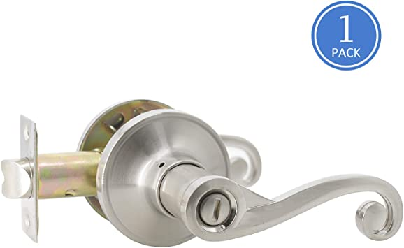 Lock et Knob 10Pack Gobrico Satin Nickel Wave Style Privacy Euro Door Lever Hardware Bed and Bath