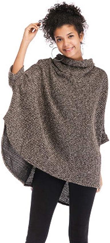 DishyKooker Mujeres Camisa de punto con manga de murciélago Abrigo de capa irregular de cuello alto para mujer Brown One size Vida conveniente: Amazon.es: Ropa y accesorios