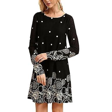 Teresamoon Women Long Sleeve O Neck Casual Printed Maxi Dress