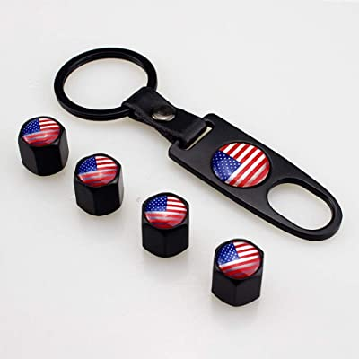 Flypc Tire Valve Stem Caps + Keychain Set American Flag Styling with 4pcs Accessories Decal Parts Universal for Most Cars, Such as BMW Mini Cooper: Automotive