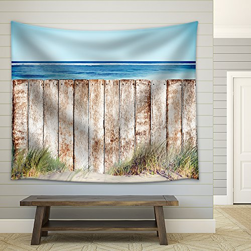 Wooden Fence by the Beach Fabric Wall Tapestry