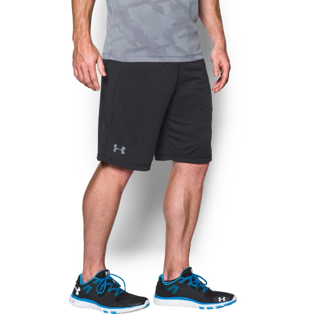 Under Armour Men's Raid Printed 10'' Shorts, Black (014)/Steel, Small by Under Armour