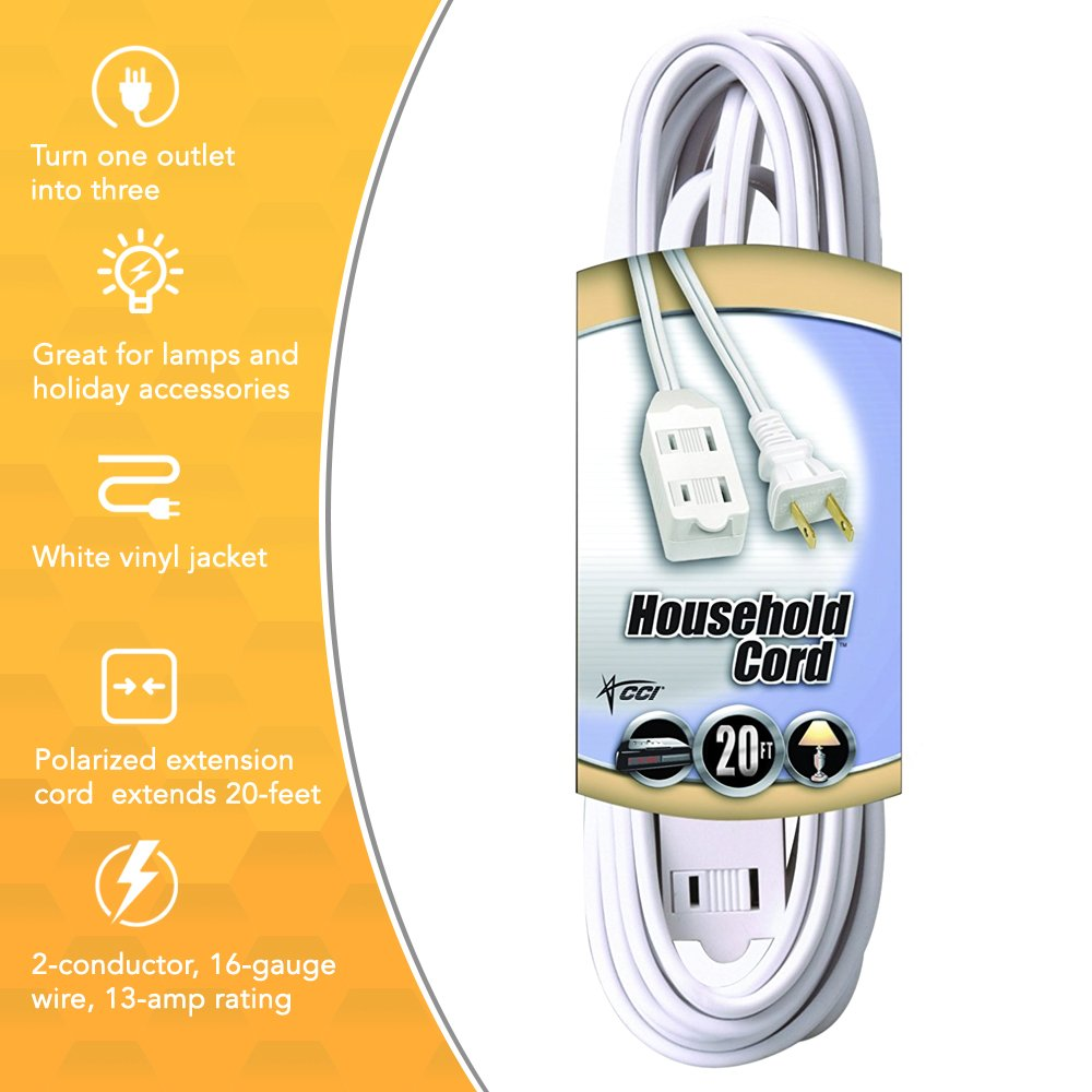 Coleman Cable 9415 Extension Cord With 2 Power Outlets Wiring To Outlet White 20 Foot Home Improvement