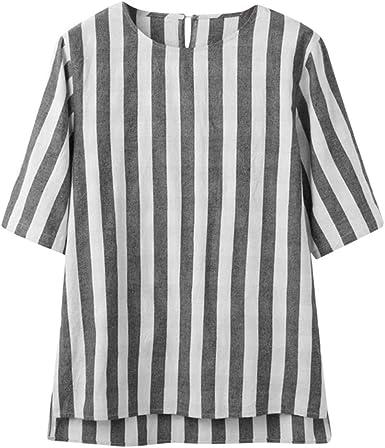 MOTOCO Camiseta de Rayas de Manga Larga para Hombre/Hombre ...