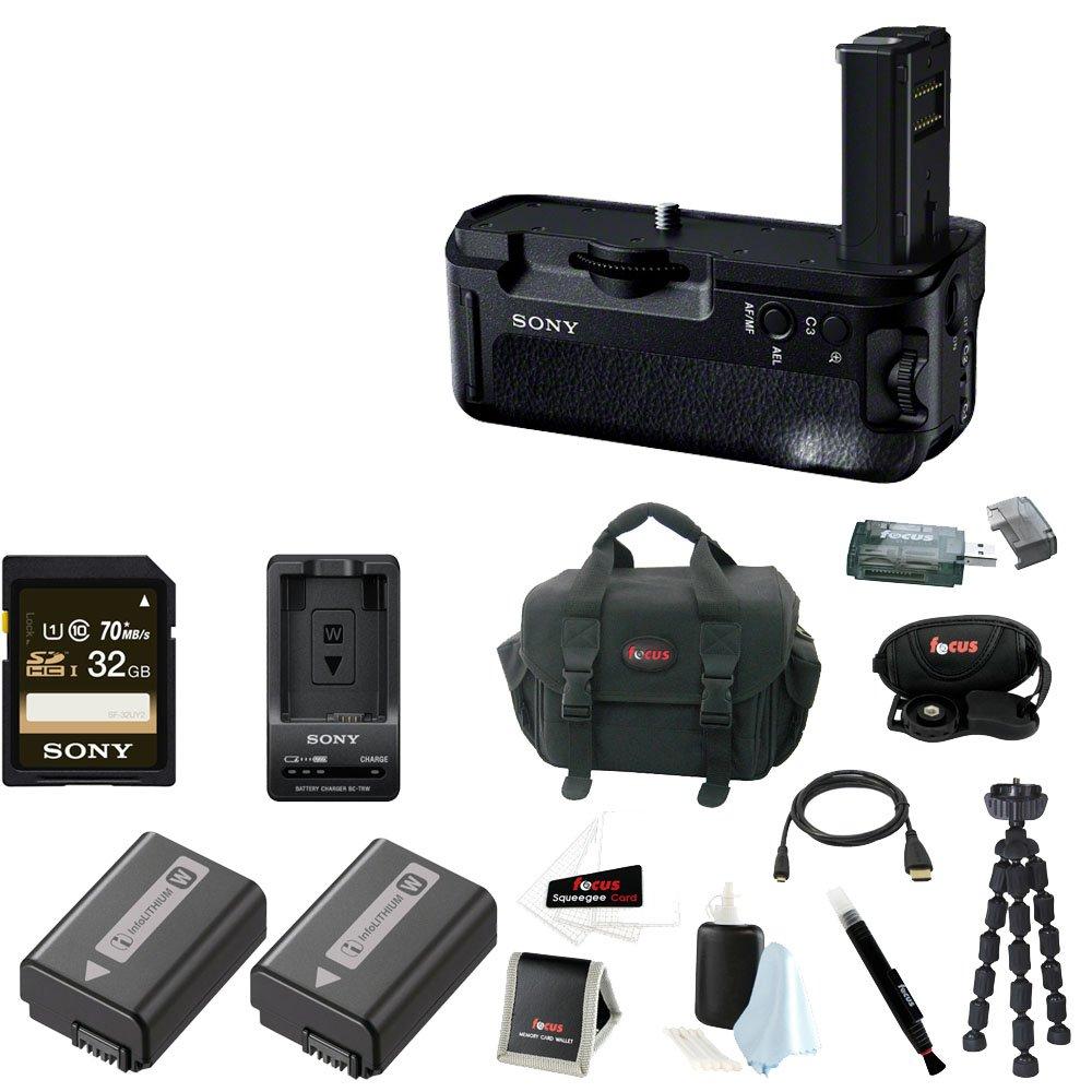 Sony VGC2EM Vertical Grip (Black) + Sony 32GB Memory Card + Camera Battery Pack + Digital Camera Batteries + Focus Camera Digital SLR Camera Bag Bundle