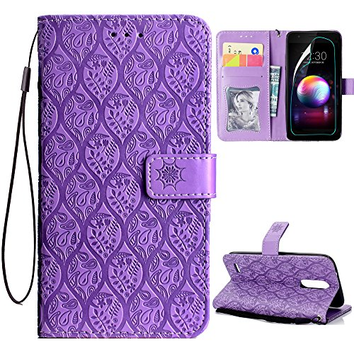 LG K30 Case,LG K10 Alpha Case,LG Premier Pro/LG K10 2018 Case with HD Screen Protector,PU Leather Wallet Flip Case with Card Holder and Kickstand Mandala Floral Flower Phone Protective,Light Purple
