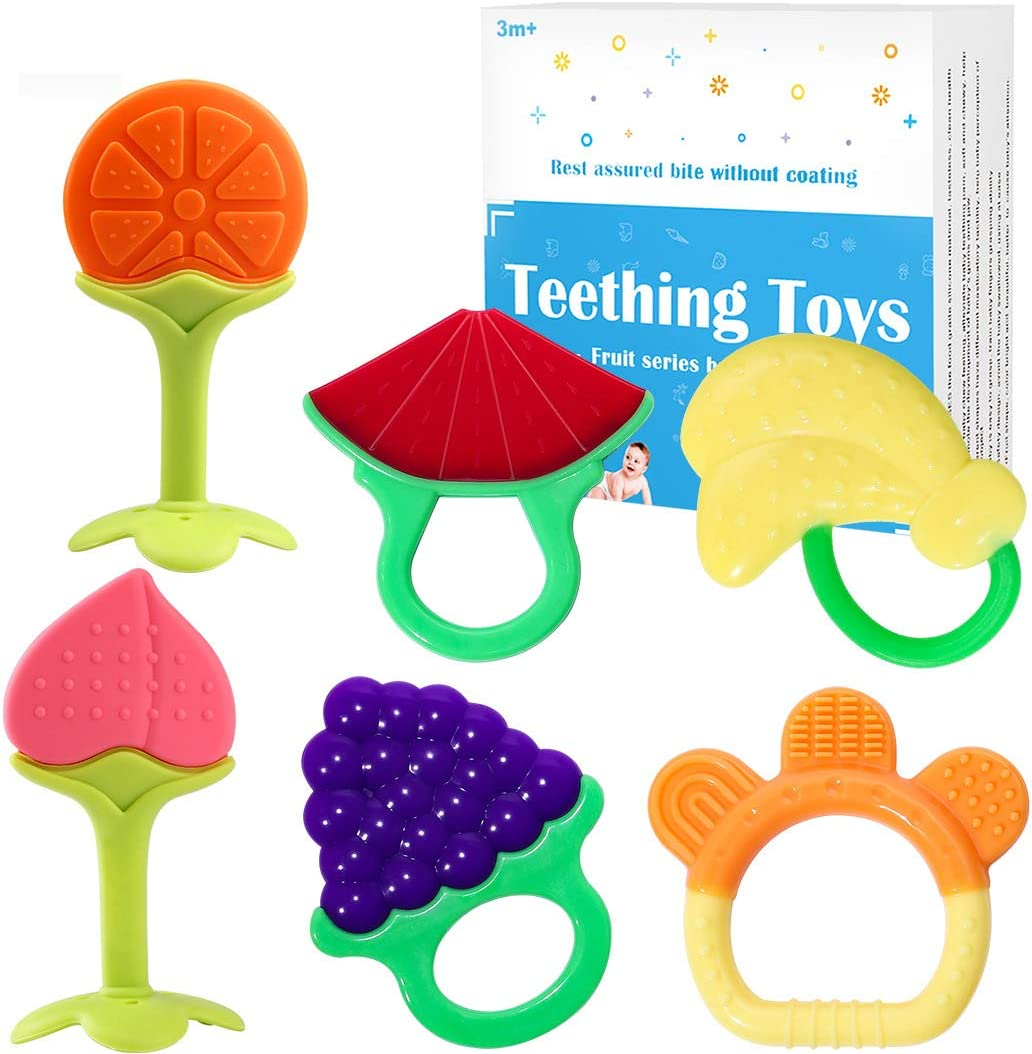 Baby Teether Toys (6 Packs), Bestwin Soft Silicone Natural Organic BPA Free Freezer Safe Teething Toys for Toddlers & Infants - Babies Shower Gift