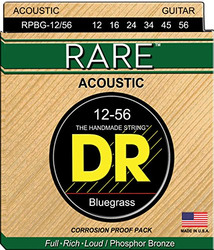 Guitar Bluegrass Strings (DR Strings Rare - Phosphor Bronze AcousticHex Core Bluegrass 12/56)