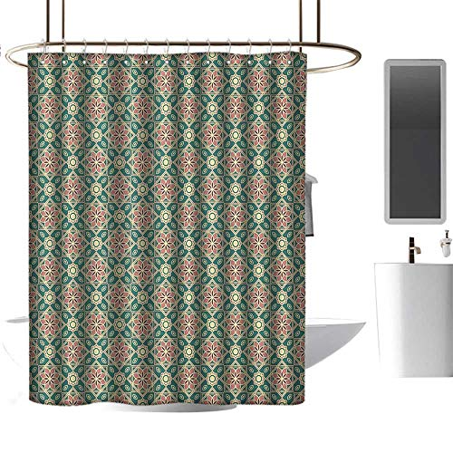 Qenuan Shower Curtain for Bathroom Eastern,Vintage Mosaic Design of Florets Zigzag Borders Oval Details, Forest Green Pale Pink Peach,European Style Decoration Bathroom Curtains 36