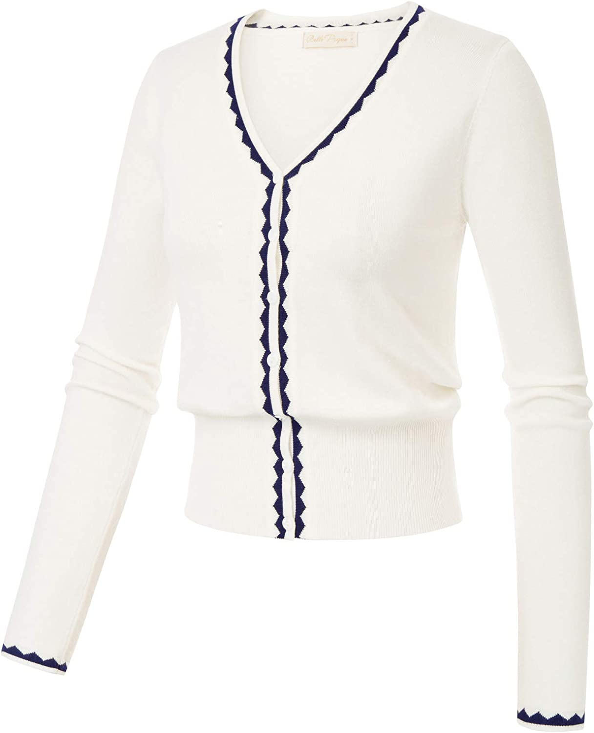 Belle Poque Womens Vintage Long Sleeve Crew Neck Button Evening Party Contrast Cardigan Knitwear Tops GF779