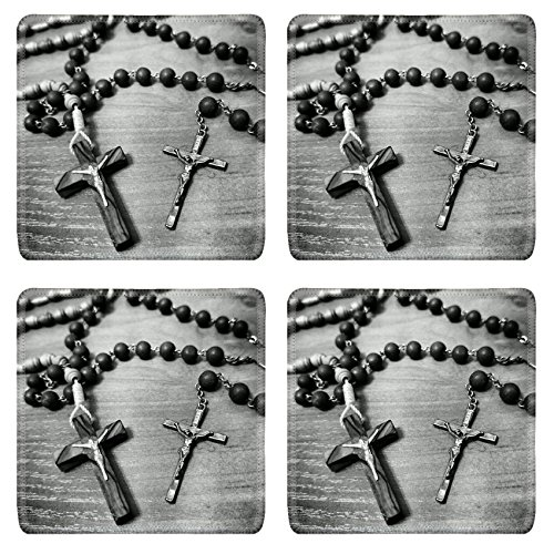 Luxlady Square Coasters Non-Slip Natural Rubber Desk Coasters IMAGE ID: 34715702 Two rosaries Catholic most important prayer support by Luxlady