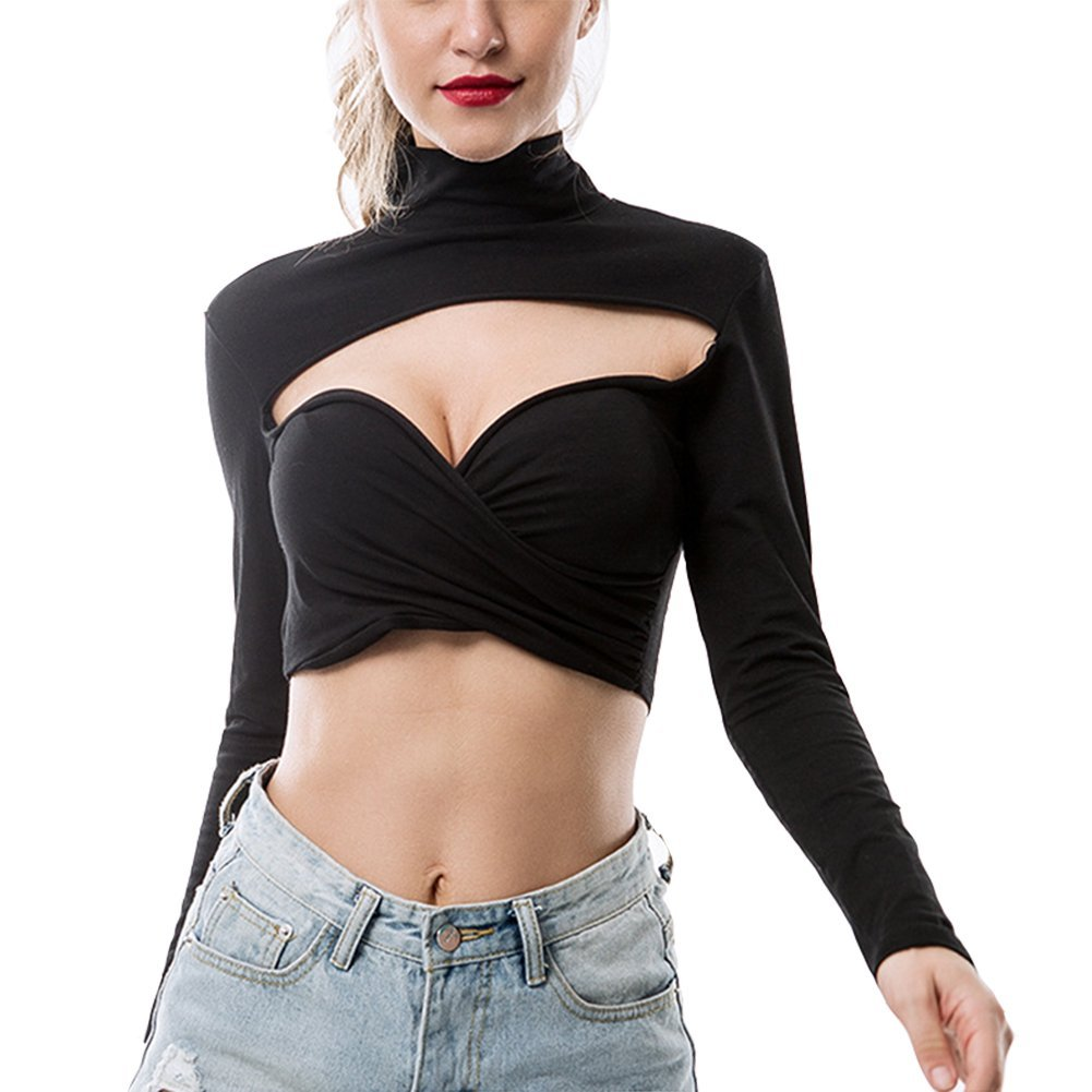 092a8003c01 Susupeng Women Turtleneck Long Sleeve Hollow Out Crop Top Wrap Casual Slim T -Shirt at Amazon Women's Clothing store: