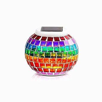 DINOWIN Imperméable Solaire Lampes de jardin Mosa¯que en verre Boule