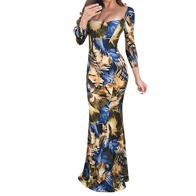 0d9d02797a Elevin(TM) Long Dresses Women Casual Evening Party Gown Lace Flora V Neck  Long Sleeve Mermaid at Amazon Women's Clothing store: