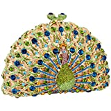 MG Collection Green Peacock Crystals Half Moon Hard Case Clutch Evening Bag