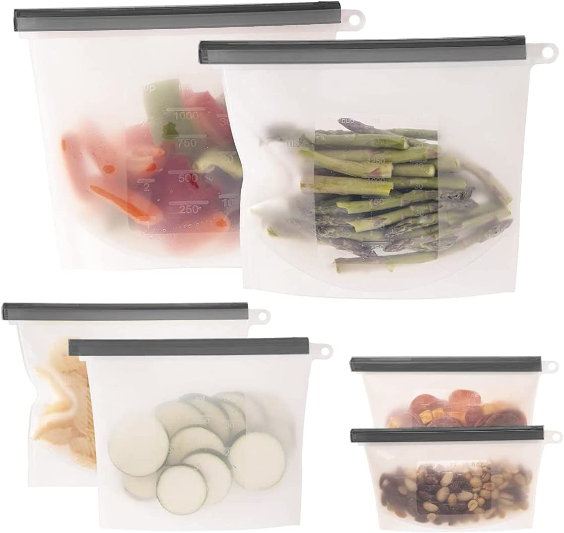 Store LLC Premium Quality Silicone Reusable Food Storage Bags Reusable Freezer Bags. Food Eco-Friendly Vacuum Zip Containers. Leakproof, Dishwasher-Safe, Microwave. Reusable Food Storage Bags. (6)