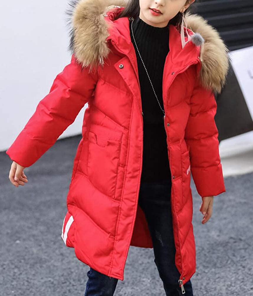 bcddaed897af4 Brinny Enfant Fille Longue Manteau Doudoune  à Capuche Fourrure Hiver Chaud  Hoodie Veste Duvet Parka