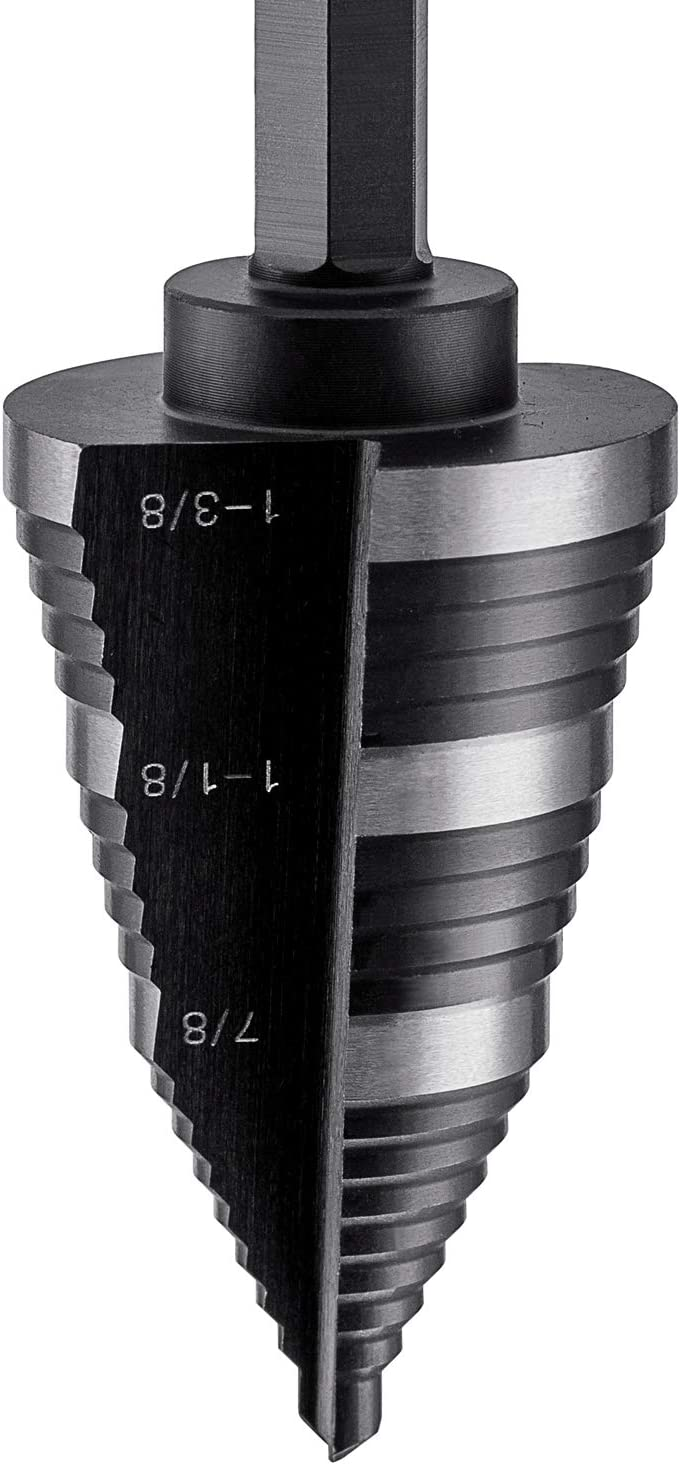 LICHAMP Double Fluted Step Drill Bit for Cutting Metal Hole 19 Sizes from 3//16 to 1-3//8 inch Genuine High Speed Steel