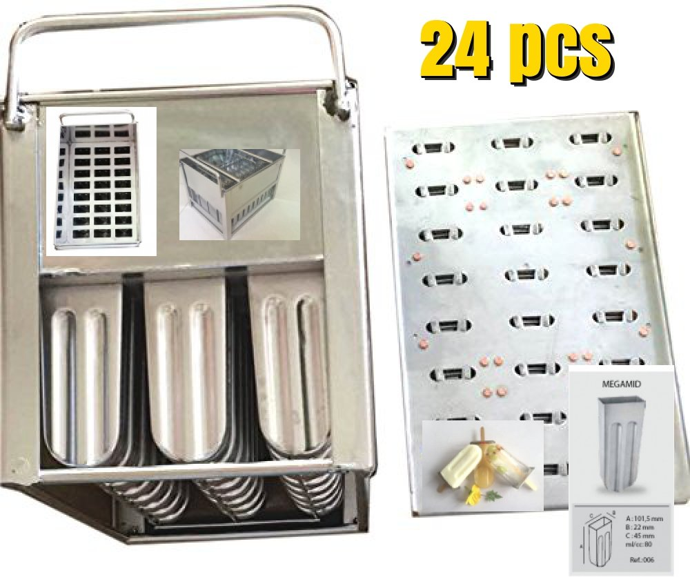 24 pcs stainless steel popsicle mold machine -bpa free -ice Cream Mold pop molds stainless steel popsicle mold-ice pop maker molds, popsicle molds stainless steel(24 popsicle mold basket)