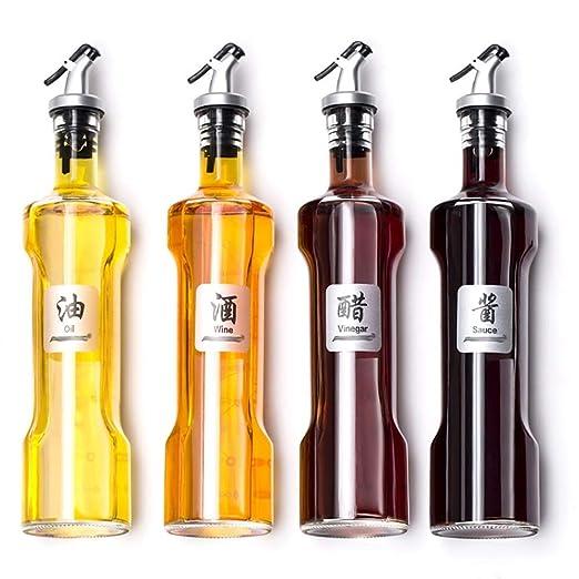 RANRANJJ Juego de 4 - Botellas de Vidrio for vinagreras de Aceite ...