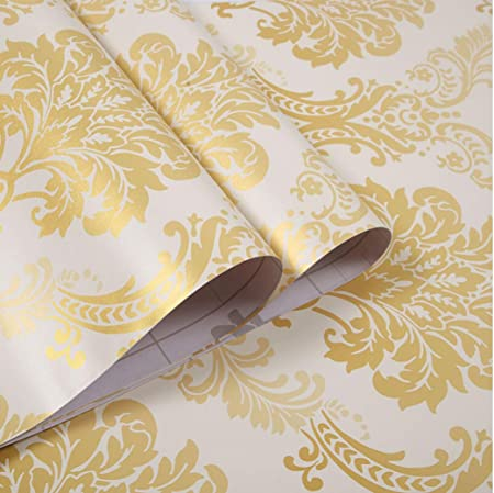 Gold Damask Yija Nordic Style Waterproof Shelf Drawer Liner Self-Adhesive Cabinet Sticker 17.7 Inch by 98 Inch