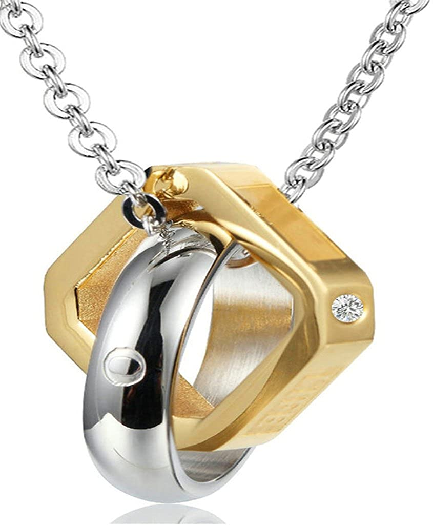 Daesar Hers /& Hers Necklace Set Couples Stainless Steel Circular Cube Love Life Pendant