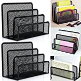 TraderPlus 2-Pack Black Mesh Mail Letter Sorter Bills & Documents Organizer File Paper Holder with 3 Storage Slots