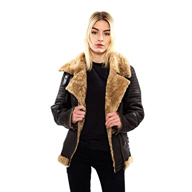 Tassa Peau lainée Style Perfecto Marron foncé  Amazon.fr  Vêtements et  accessoires b988be92a07
