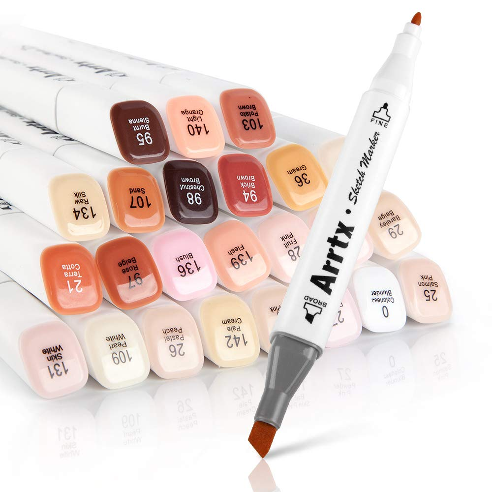 Arrtx Skin Tone Markers, 24 Colors Dual Tip Twin Marker Pens with Carry Bag, Permanent Alcohol Based Art Markers Pen for Portrait Illustration Sketching Drawing Coloring