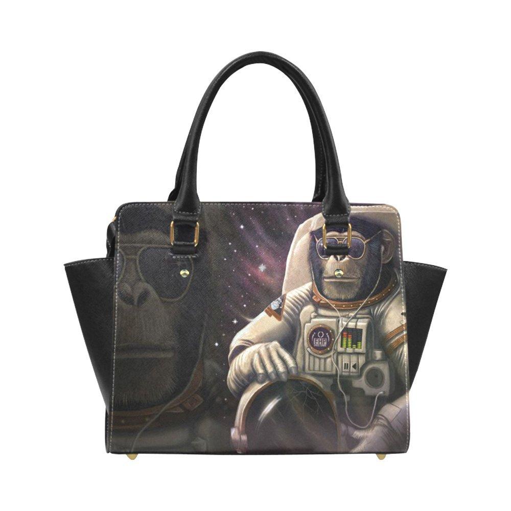 Fashion And Stylish Monkey Astronaut In Space For High-grade PU leather Women Girls Classic Shoulder Handbag/Tote Bag/Handbag SE-45