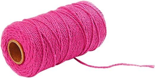 SIXCUP Hilo de algodón 100 Yard, Hilo de algodón para Tejer a Mano, Hilo de algodón Natural, cordón, Bricolaje, Manualidades, macramé, Cuerda de Artisan, Hilo de algodón Natural de 2 mm: Amazon.es: